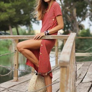 Zara Trafaluc Red Striped Midi Dress size Medium